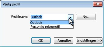 Dialogboksen Outlook-profilvalg