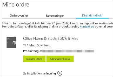 Viser en digital bestilling af Office, dens produktnøgle og knapper til at installere Office og administrere din Microsoft-konto.