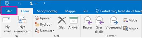 Sådan ser båndet ud i Outlook 2016