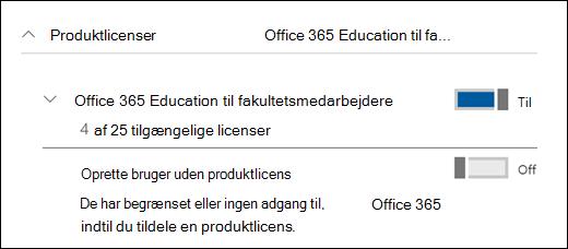 Skærmbillede af tilføjelse af en bruger i Office 365, der viser afsnittet med den udvidede produktlicens.