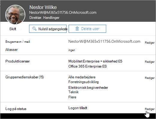 Skærmbillede af en brugers login-status i Office 365