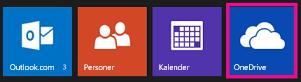 Appstarter, hvor OneDrive-feltet er fremhævet