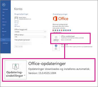 Versionsnummeret står anført under Office-opdateringer