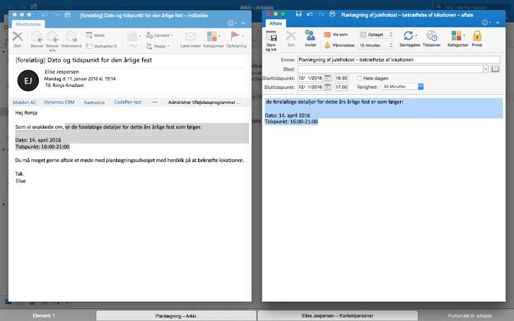 meddelelser side om side i fuldskærmsvisning i Outlook