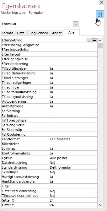 Skærmbillede af Access-egenskabsarket med egenskaber, der er sorteret i alfabetisk rækkefølge