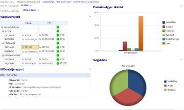 Salgs-dashboard med filtre for Regnskabsår og Produktsalg anvendt