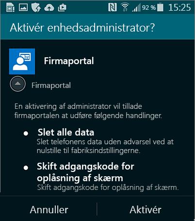 Aktivere enhedsadministrator for Android