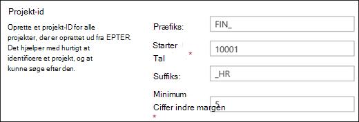 Indstillinger for projekt-id