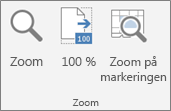Gruppen Zoom på båndet i Excel