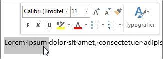 Miniværktøjslinje med markeret tekst