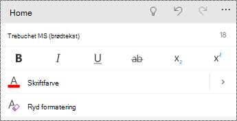 Menuen Skrifttype i PowerPoint til Windows Phones.