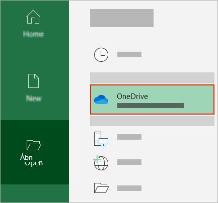 Åbn dialogboksen i Office, der viser OneDrive-mappen