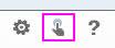 Skærmbillede af knapperne for indstillinger, berøringstilstand og hjælp, hvor knappen for berøringstilstand er fremhævet