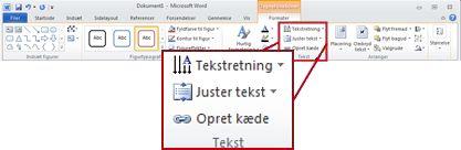 Fanen Formater under Tegnefunktioner på båndet i Word 2010.
