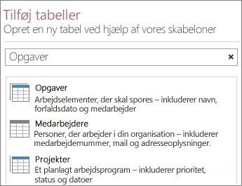 Søgefeltet for tabelskabelonen i velkomstskærmbilledet i Access.