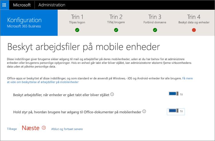 Skærmbillede af siden Beskyt arbejdsfiler på dine mobilenheder