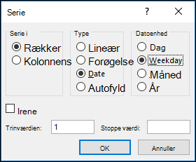 Excel udfylde > Indstillinger for dataserier