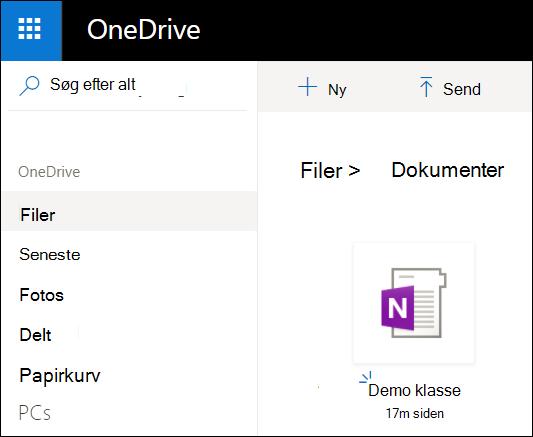 Mappen OneDrive-dokumenter for Microsoft-konto