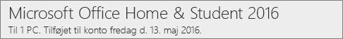 Sådan vises pc-versionen af Office 2016 på Office.com/myaccount