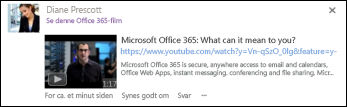 YouTube-video integreret i et nyhedsopdateringsindlæg