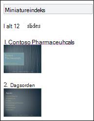 Miniatureindeks i Mobile-fremviser til PowerPoint