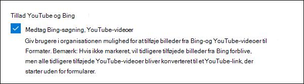 Microsoft Forms-administratorindstilling for YouTube og Bing