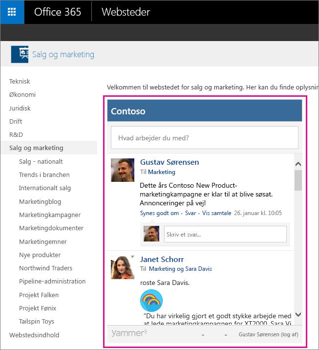 Et Yammer-gruppefeed integreret i en SharePoint-side