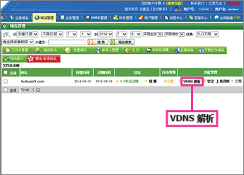"Klik på ""VDNS 解析"""