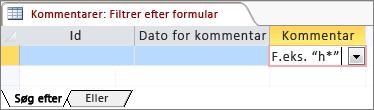 Filtrer efter formular