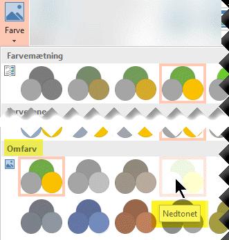 Vælg Farve på fanen Billedværktøjer – Formatér i værktøjslinjebåndet. Under Omfarv skal du vælge Visk ud.