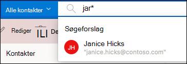 Søge efter personer med søgelinjen.