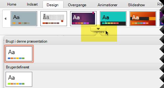Klik på den nedadvendt pil for at åbne fuldført temagalleriet