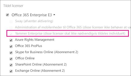 Skærmbillede af afsnittet Tildel licenser i Office 365 Administration med markeret Yammer Enterprise-licens.
