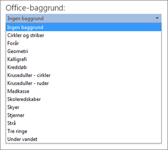 Listen Office-baggrund i Office 2013-programmer