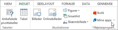 Skærmbillede af en del af fanen Indsæt på båndet i Excel med en markør, der peger på mine Apps. Vælg Mine Apps til access-apps til Excel.