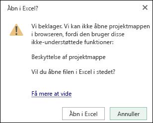 Dialogboks, når du åbner en adgangskodebeskyttet projektmappe i Excel Online