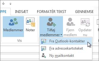 Tilføj medlemmer fra kontakter i Outlook
