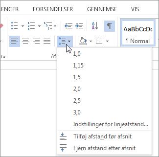 Skærmbillede af fanen Hjem i Word, der viser menuen Afstand mellem linjer og afsnit.