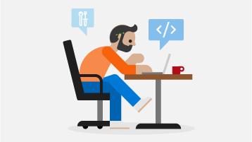 Illustration af en mand, der sidder ved et skrivebord med en åben bærbar computer