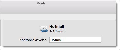 En beskrivelse og typen af en Outlook-konto vises.