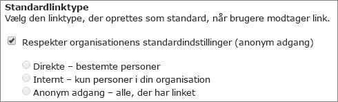 Skærmbillede af standardindstillingerne for link type for en gruppe af websteder