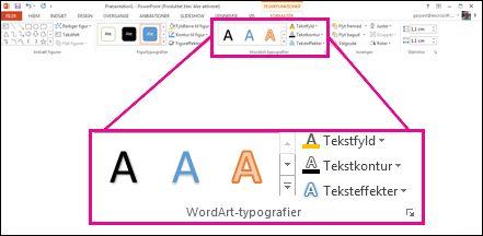Kommandoer til WordArt-typografier på båndet
