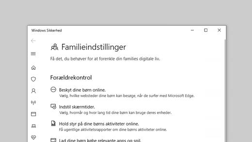 Familieindstillinger i Windows Sikkerhed