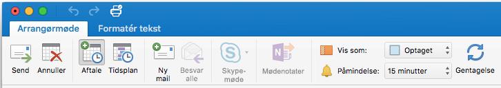 Mødebåndet i Skype-møde er deaktiveret
