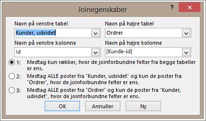 Skærmbillede af egenskaber for joinforbindelse med fremhævning af venstre tabelnavn