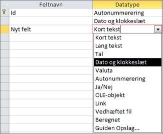 Tilføjelse af et dato/klokkeslætsfelt i designvisning