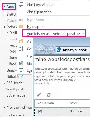 Administrer webstedspostkasse