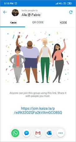 Skærmbillede af siden Inviter link i Kaizala