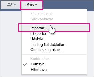 Google Gmail – klik på Mere, Importér kontaktpersoner