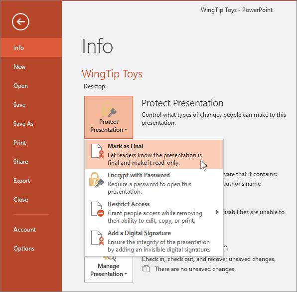 Viser Filer, Oplysninger, knappen Beskyt præsentation i PowerPoint